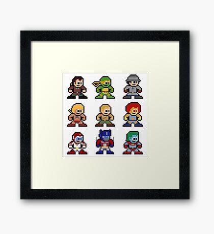 8-bit 80s Cartoon Heroes Framed Print