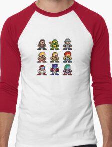 8-bit 80s Cartoon Heroes Men's Baseball ¾ T-Shirt