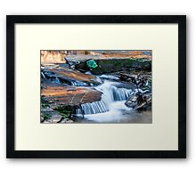 Cascading water down the Carreck Creek Framed Print