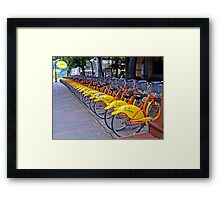 30 Yellow Bicycles in Taipei Framed Print