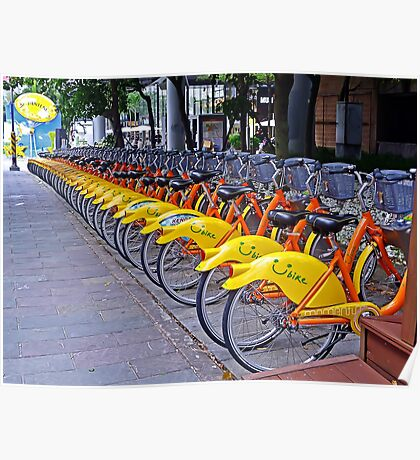 30 Yellow Bicycles in Taipei Poster
