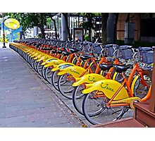 30 Yellow Bicycles in Taipei Photographic Print