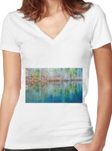 Reflections on  Pinnacle Lake Women's Fitted V-Neck T-Shirt