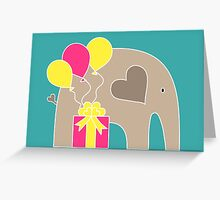 Happy Birthday Elephant (Turquoise) Greeting Card