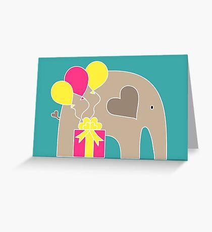 Happy Birthday Elephant (Turquoise) Greeting Card