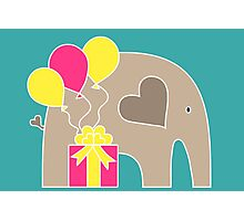 Happy Birthday Elephant (Turquoise) Photographic Print