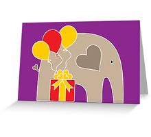 Happy Birthday Elephant (Purple) Greeting Card