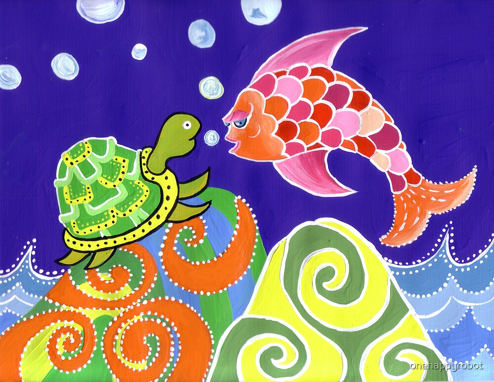 Flying fish and Turtle by onehappyrobot
