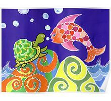 Flying fish and Turtle Poster