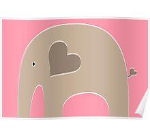 Safari Elephant - Pink Poster