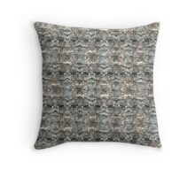 Black Bogong Moth with bark background Throw Pillow