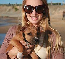 20. Bree & her Staffy Puppy Indie by Cathie Brooker