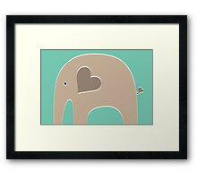 Safari Elephant - Turquoise Framed Print