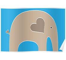 Safari Elephant - Blue Poster