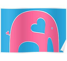 Pink and Blue Elephant Poster