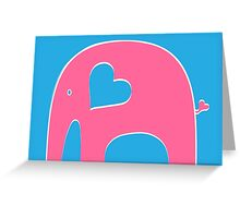 Pink and Blue Elephant Greeting Card