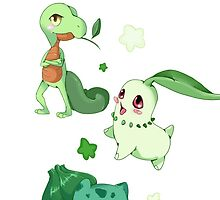 Pokemon Grass starters  by Paintingpixel