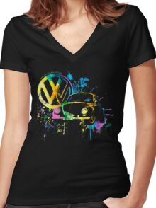 Volkswagen Beetle Splash © Women's Fitted V-Neck T-Shirt