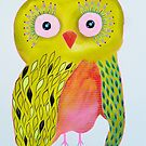 Quirky Yellow Owl by Bea Roberts