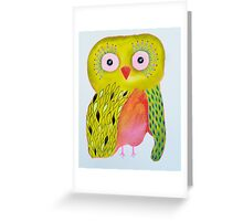 Quirky Yellow Owl Greeting Card