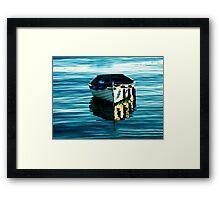 BLUE BOAT WITH GOLDEN REFLECTIONS ON PORTRUSH HARBOUR BAY  Framed Print