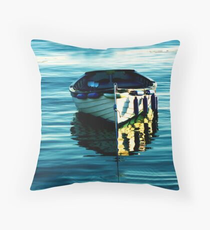BLUE BOAT WITH GOLDEN REFLECTIONS ON PORTRUSH HARBOUR BAY  Throw Pillow
