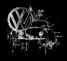 Volkswagen Beetle Splash BW by BlulimeMerch