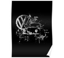 Volkswagen Beetle Splash BW Poster