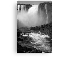 Down the Throat - Iguazu Falls - in monochrome Canvas Print