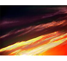 A Fire Burns at Sunset Photographic Print