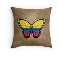 Colombian Flag Butterfly Throw Pillow