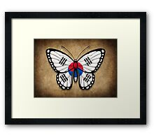 South Korean Flag Butterfly Framed Print