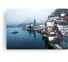 Winter in Hallstatt, Austria Metal Print