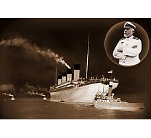 ☝ ☞ EJ SMITH CAPTAIN OF THE TITANIC-Titanic leaving Belfast with two guiding tugs VERSION ONE PILLOWS,TOTE BAGS ,PICTURE,ECT. ☝ ☞ Photographic Print