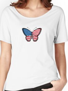 American Flag Butterfly Women's Relaxed Fit T-Shirt