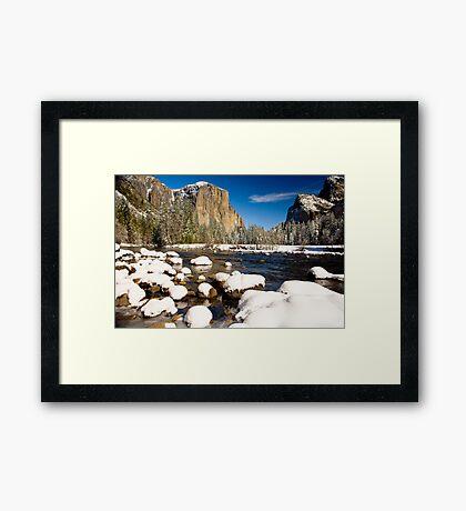 Yosemite Valley Snow Covered Framed Print