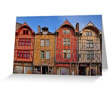 Colorful buildings in Troyes France Greeting Card