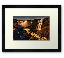 Rainbow over the River - Fiery Night Artistic Framed Print