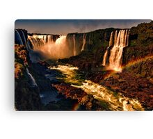 Rainbow over the River - Fiery Night Artistic Canvas Print