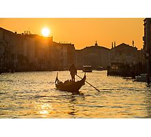 Gondola on the Grand Canal at Sunset in Venice, Italy Photographic Print