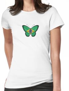 Brazilian Flag Butterfly Womens Fitted T-Shirt