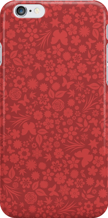 Flower & Butterfly Pattern - Red by chayground