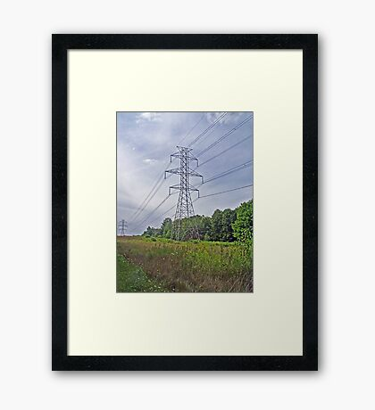 Electricity vs. Nature Framed Print