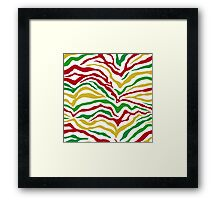 Zebra Stipes Animal Print Primary Colors Bright Green Red Yellow Yipes Stripes Framed Print