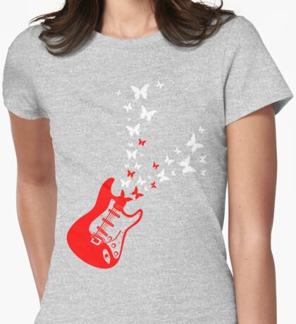Butterfly Guitar Womens Fitted T-Shirt