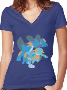 Mudkip Evolution Women's Fitted V-Neck T-Shirt