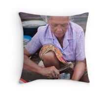 Fish Seller Throw Pillow