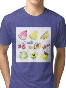 Watercolor fruits Tri-blend T-Shirt