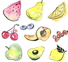 Watercolor fruits by julkapulka