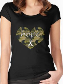 Hope Heart Camo 2 Women's Fitted Scoop T-Shirt